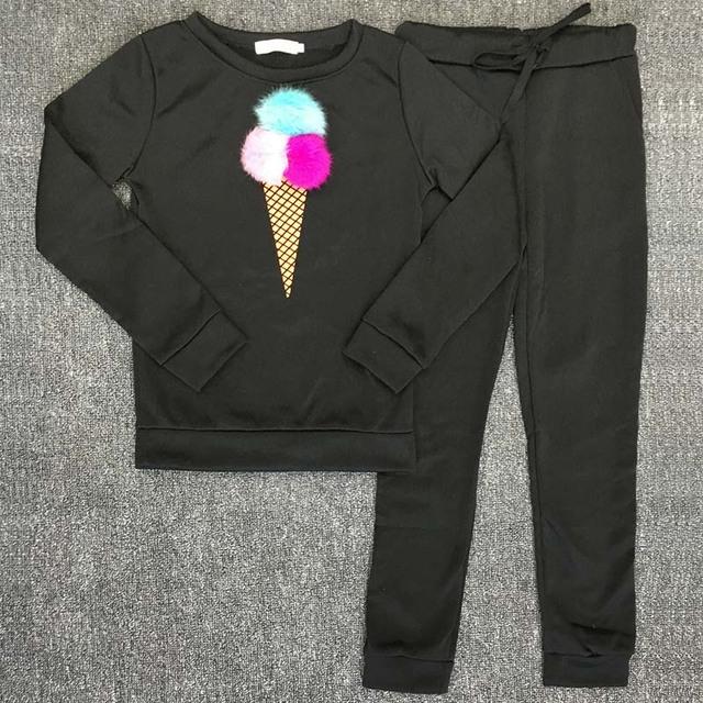 Autumn Women Two Piece Clothing Set Detachable Plush Ball Sweatshirt Pants Sporting Track Suit Female Tracksuit Outfit DG276