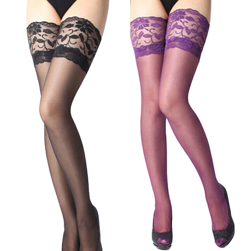 Sexy Pantyhose Stockings Women Ladies Sexy Lace Top Long Stay Up Thigh High Stockings Pantyhose