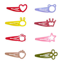 20 pcs/lot Color Candy Hair Clips Alloy Girls Macaroon Hairpin Summer Cartoon BB Clip Loveheart  Star Hairgrips Accessories