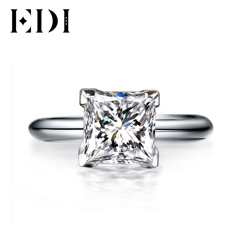 EDI 1CT Princess Cut Classic Moissanites Diamond Ring 14k White Gold Wedding Rings For Women