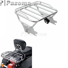 Chrome Detachable Two Up Luggage Rack for Harley Touring Road King FLHT FLHX FLTR 1997-2008 black aluminum motorcycle fuel tank cover console door cover fuel cap deep cut for harley touring flhx fltr flht 2008 2016