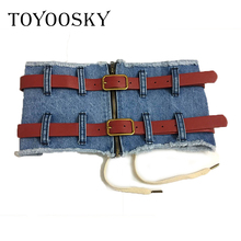 TOYOOSKY Denim Female Belt Corset Wide Belt For Women Dresses Zipper Vintage Jeans Lace Up Clothes Accesories Korean 2018 eyelet lace up wide belt