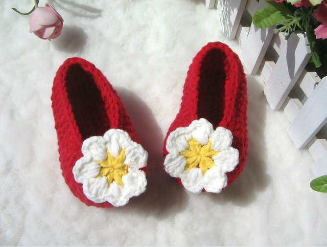 Handmade Vintage Crochet Baby toddle girl Shoes flower bonnet footwear for beanie 0-12 Months Ivory yellow red xmas hot sale