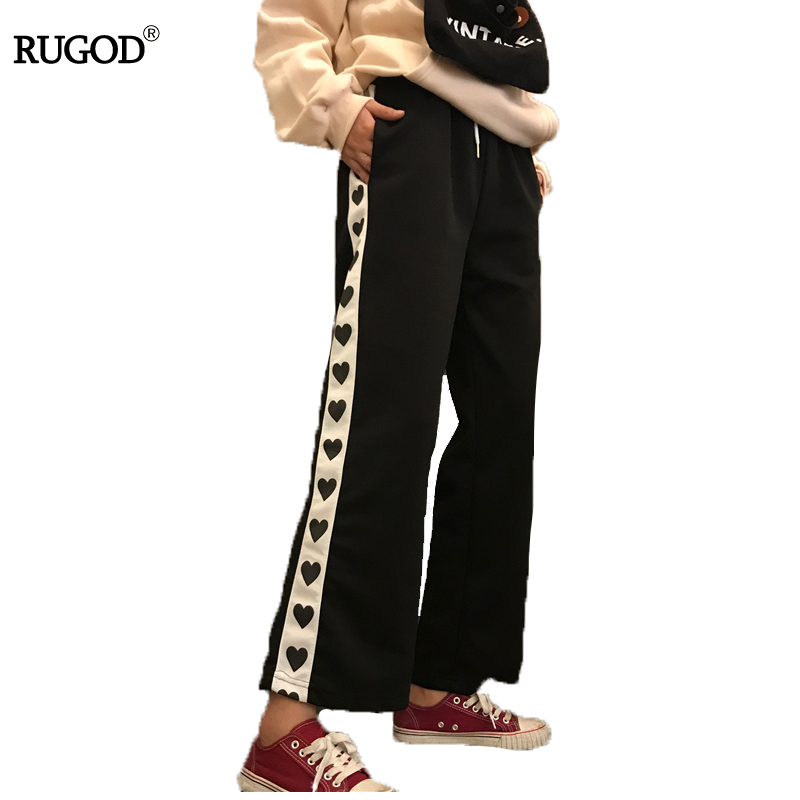 Rugod 2017 Fashion Autumn Women   Pants   Mid Waist Heart Print   Wide     Leg     Pants   High Quality Casual Loose   Pants   For Women