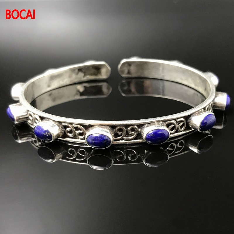 925 sterling silver Tibetan bracelets for men and women speak Tibetan ethnic wind restoring ancient ways ethnic wind bracelets men and women decorations green agate 925 silver ball duobao string original jewelry