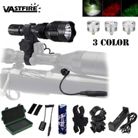 Outdoor LED Tactical Gun Flashlight L2 White/T6 Green/XPE RED Hunting Torch Light+Scope Mount+press Remote Switch+scope mount