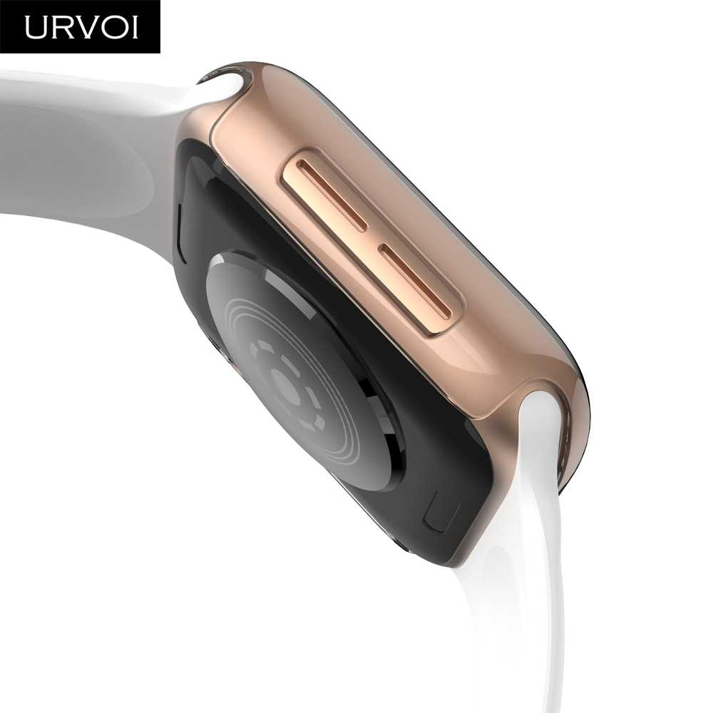 low priced efac3 067e5 URVOI Clear case for Apple Watch series 4 3 2 1 Plastic cover screen  protector for iWatch 40 44mm slim fit Ultra-thin frame band