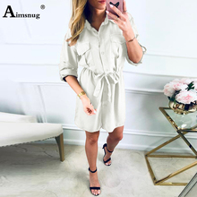 Solid Front Chest With Pockets With Adjustable Belt buckle Cuffs Three Quarter Sleeve Single-breasted 2019 Summer Women Dress stand collar single breasted three quarter sleeve blazer