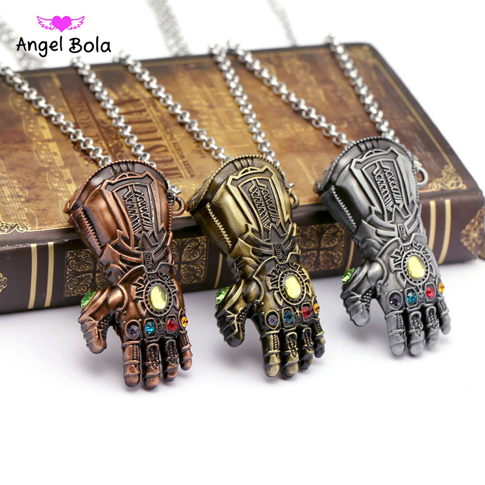 Infinity War Gauntlet Pendant Avengers Inspired Thanos Cospl Jewelry 6 Colors Infinity Stones Crystals Necklace Drop Shipping