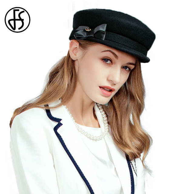 db6374197 FS Black Women 100% Wool Felt Hat Fashion Fall Winter Hats Vintage Literary  Military For Lady Flat Cap Chapeu Gorra