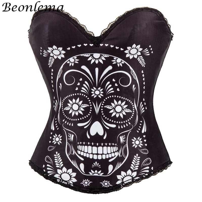 BEONLEMA Halloween Masquerade White Skull Printed   Corset   Top Women Gothic Club Wear Black   Bustiers   and   Corsets   Sexy Clothing