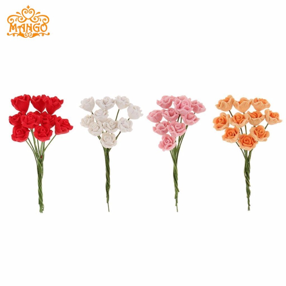 1/12 Dollhouse Miniature Clay Flower Red mawar Daisies kuning banyak orkid Blue orchid 10pcs Bunga