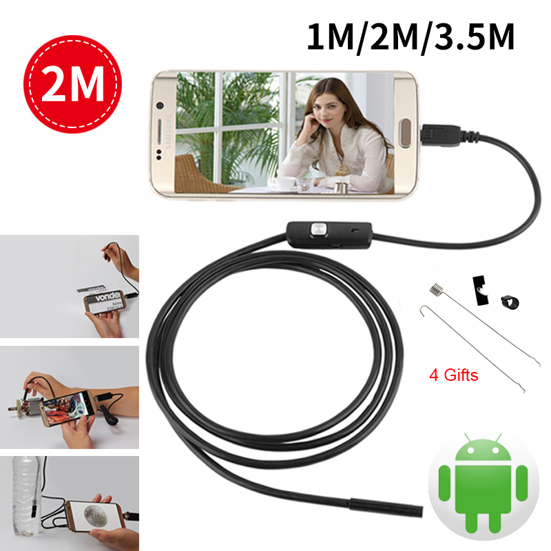Android USB Endoscope For Smartphone HD 7mm Cable Pipe Mini Camera Endoscope Waterproof Led Inspection Surveillance Endoscope
