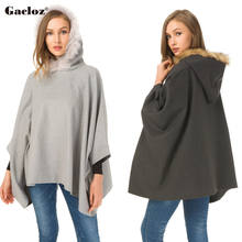 Gacloz Fashion Cape Ponchos Women Plus Size Cloak Coat Hooded Coat Outerwear Casual Pullover Overcoat(China)