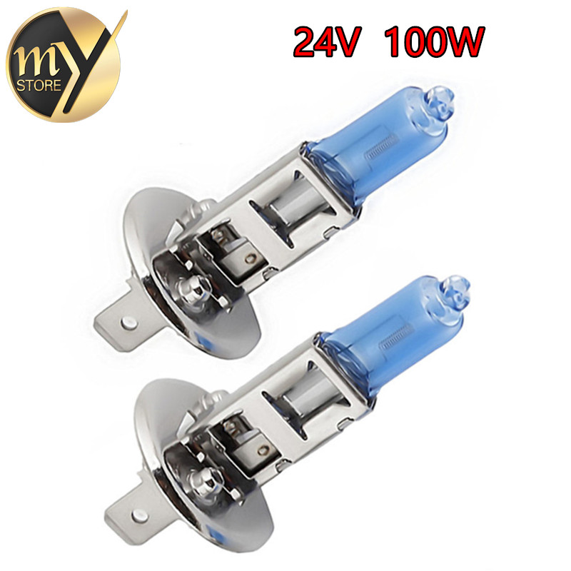 2pcs 24V H1 100W Super Bright White Fog Lights Halogen Bulb High Power Car Headlight Lamp Car Light Source parking auto