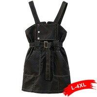 Plus Size PU Leather Women Dress 3Xl 4Xl Autumn Winter Sashes Zipper Vintage Black Mini Dresses Slim Sexy V Neck Short Sundress