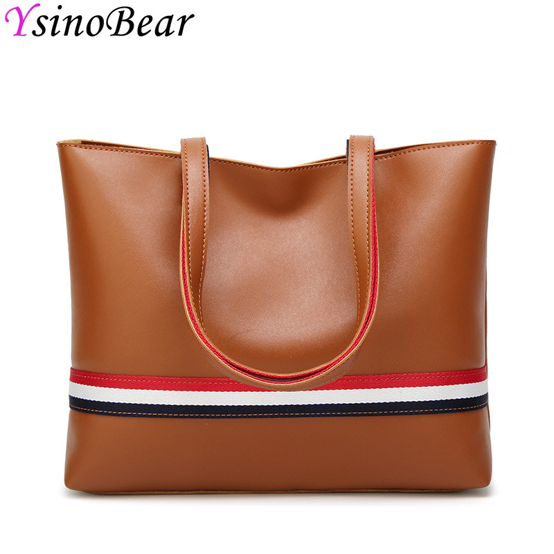 YsinoBear Colorful Ribbons Women Shoulder Bag Large Capacity Tote Bag 2 Pcs/Set High Quality PU Leather Handbags Composite Bags