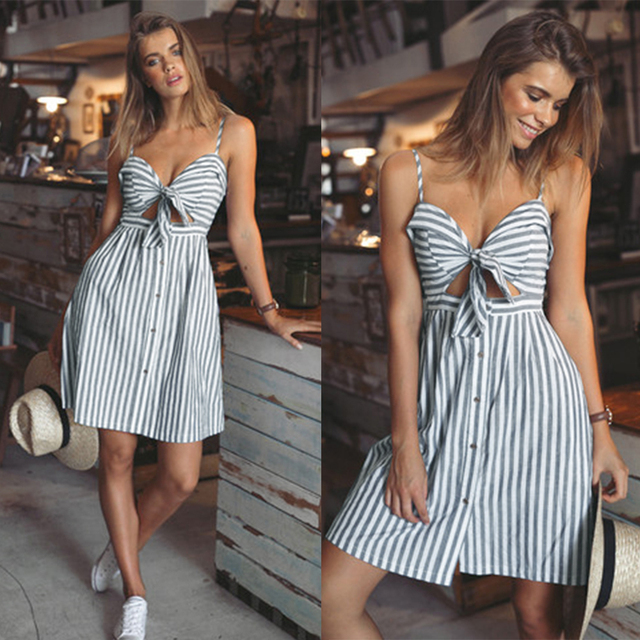 c635b7051b68 Wipalo femmes robes d été Coton et lin Dos Nu bretelles spaghetti sangle  robe Bleu