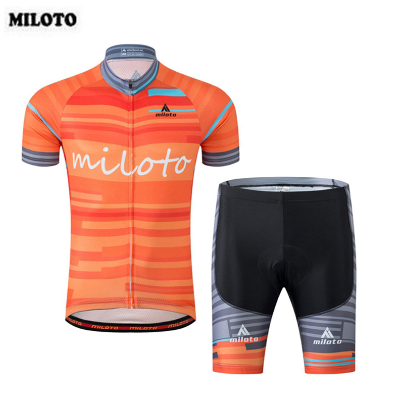 MILOTO Team Mens Cycling Jersey Set Cyclist Bike Bicycle Clothing Outdoor Sportwear Short Sleeve Jersey Bib Tight Shorts S-4XL