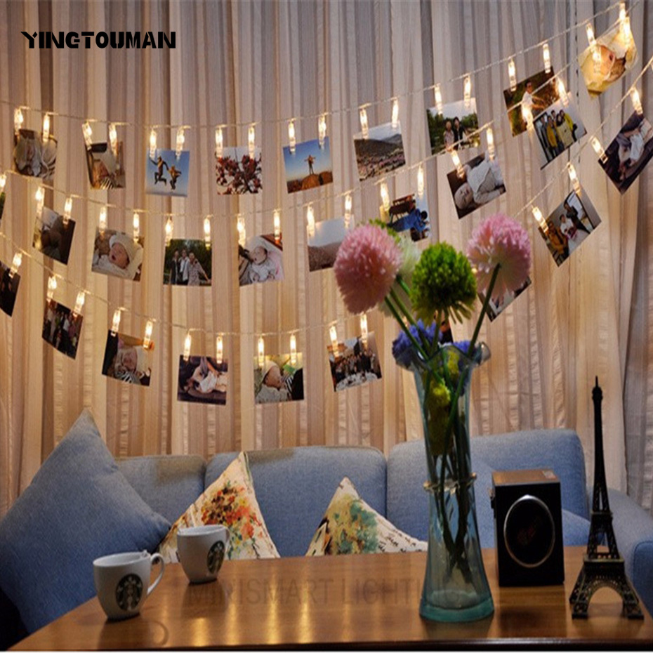 YINGTOUMAN SELL Photo Clip Romantic Battery Lamp String Lights Christmas Party Festival Holiday Decorative Lightings 6m 40LED