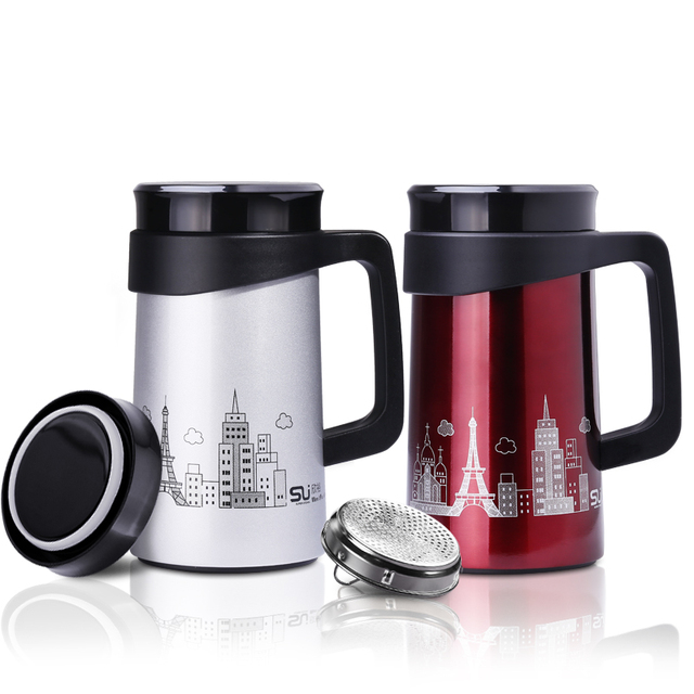 500ml Thermos Cup Stainless Steel Coffee Mug Drinkware Tea Infuser Vacuum With Strainer