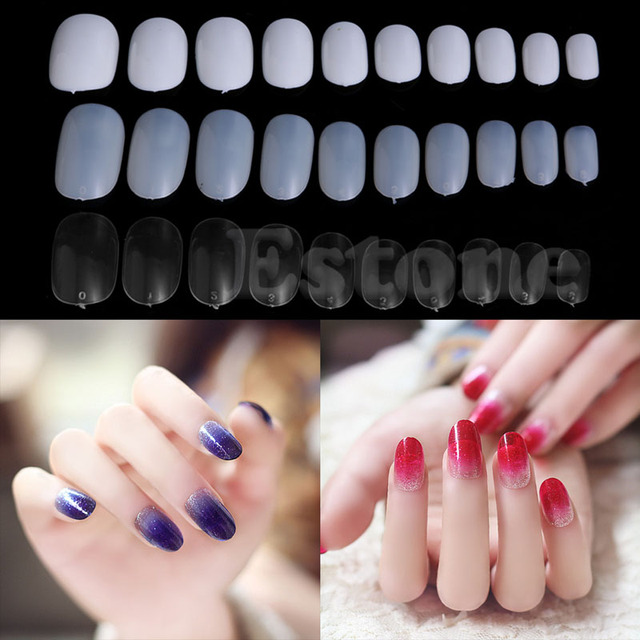 New 600pcs Oval Stiletto Pointy Full False Nail Art Tip Almond Shape Acrylic Gel Claw Hot