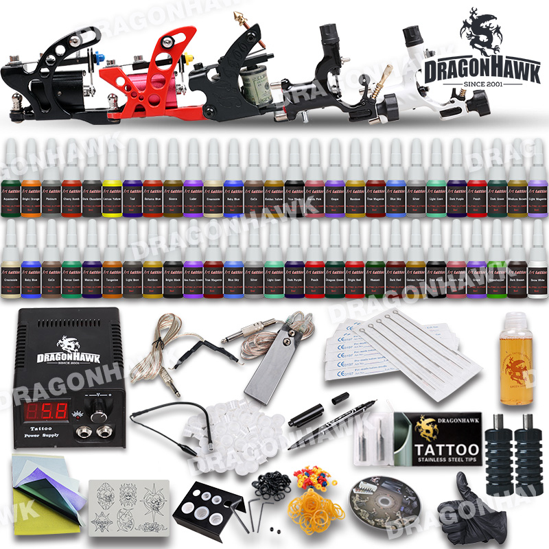 Complete Beginner Tattoo Kit Machine Guns Inks Needles Tattoo Power Supply D179GD-4 beginner tattoo kit 1 machine gun 4 inks needles tattoo power supply d1025gd 2