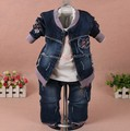 new 2017 spring girls embroidery denim jacket clothing sets 3pcs baby girl denim flower clothes sets girls jeans
