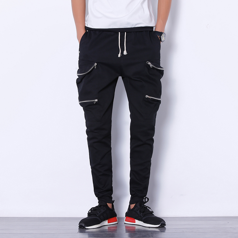Mens Joggers Pant 2017 Brand Male Cargo Pants Solid Slim Tights Zipper Trousers Compression Men Jogger