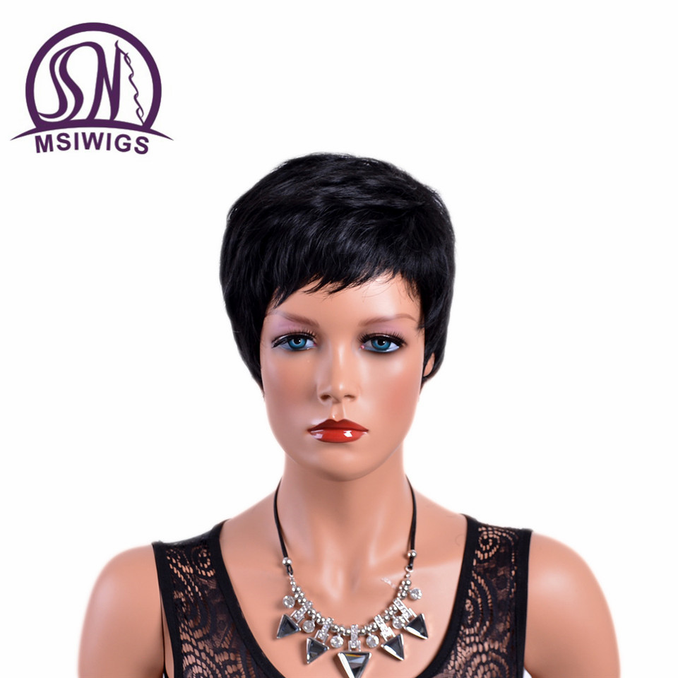 MSIWIGS 6 Inch Short Straight Wigs for Women Natual Black African American High Temperature Fiber Synthetic Hair Wig with Bangs