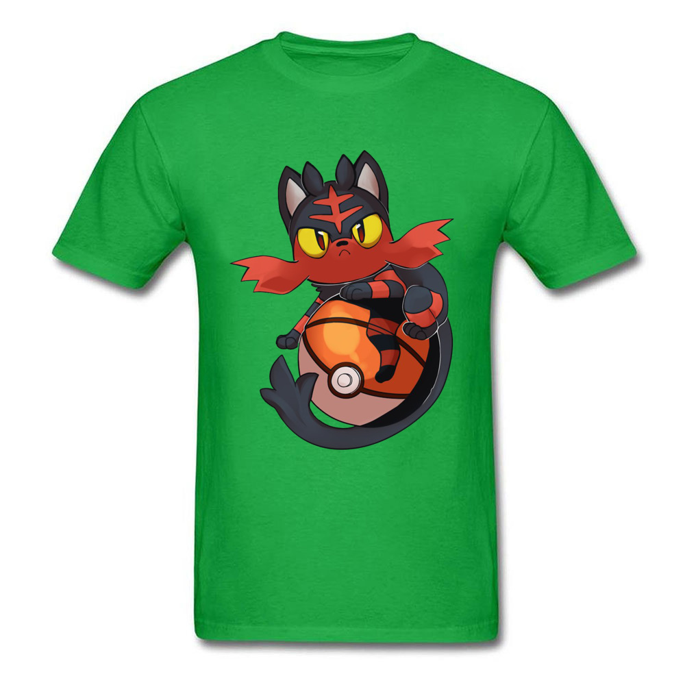 Pokemon-Litten-Dragon-Ball-Z-Aime- Men's New Tops T Shirt O-Neck Lovers Day Pure Cotton Tshirts Slim Fit Short Sleeve Tee-Shirts Pokemon-Litten-Dragon-Ball-Z-Aime- green