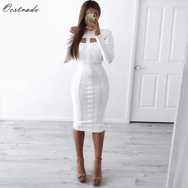 Women White Bandage Dress Bodycon Sexy Cut Out High Neck Long Sleeve Party Rayon Bandage Midi Dress