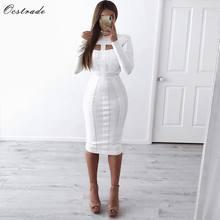 Ocstrade kadınlar beyaz bandaj elbise Bodycon 2021 yeni gelenler seksi Cut Out yüksek boyun uzun kollu parti Rayon bandaj Midi elbise