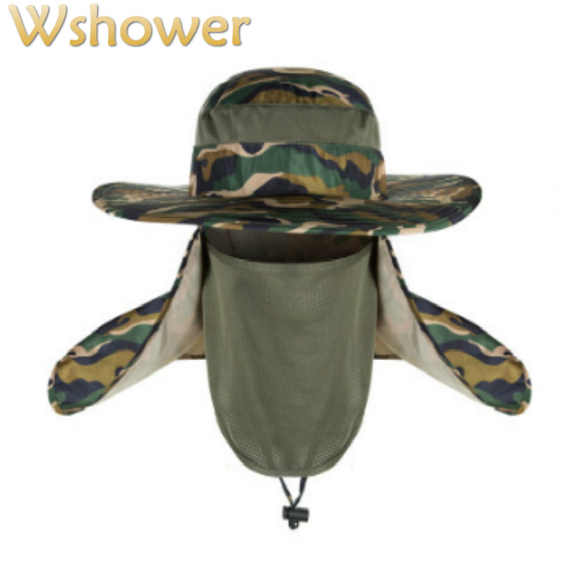 a5616757cb093 Which in shower Women Men Wide Brim Camouflage Bucket Hat Face Neck  Protection Fisherman Fishing Caps Camo Sun Summer Panama-in Bucket Hats  from Apparel ...