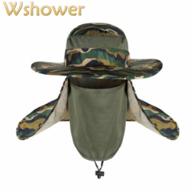 c01d806856f Which in shower Women Men Wide Brim Camouflage Bucket Hat Face Neck  Protection Fisherman Fishing Caps