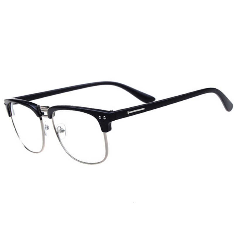 Metal Half-rim Frame Glasses Retro Men Reading Glasses UV Protection Glass Without Magnification Boss Eyeglasses Frame Wholesale