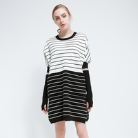 2017 Spring Summer Plus Dress Women Long Sleeve Loose Dresses Knitted White Black Red Striped Pullovers