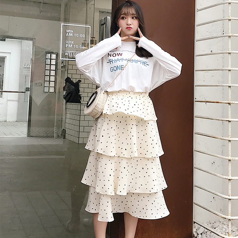 Cake skirt spring and summer fairy mesh skirt 2019 new long paragraph Princess high waist pleated long skirt in Skirts from Women 39 s Clothing