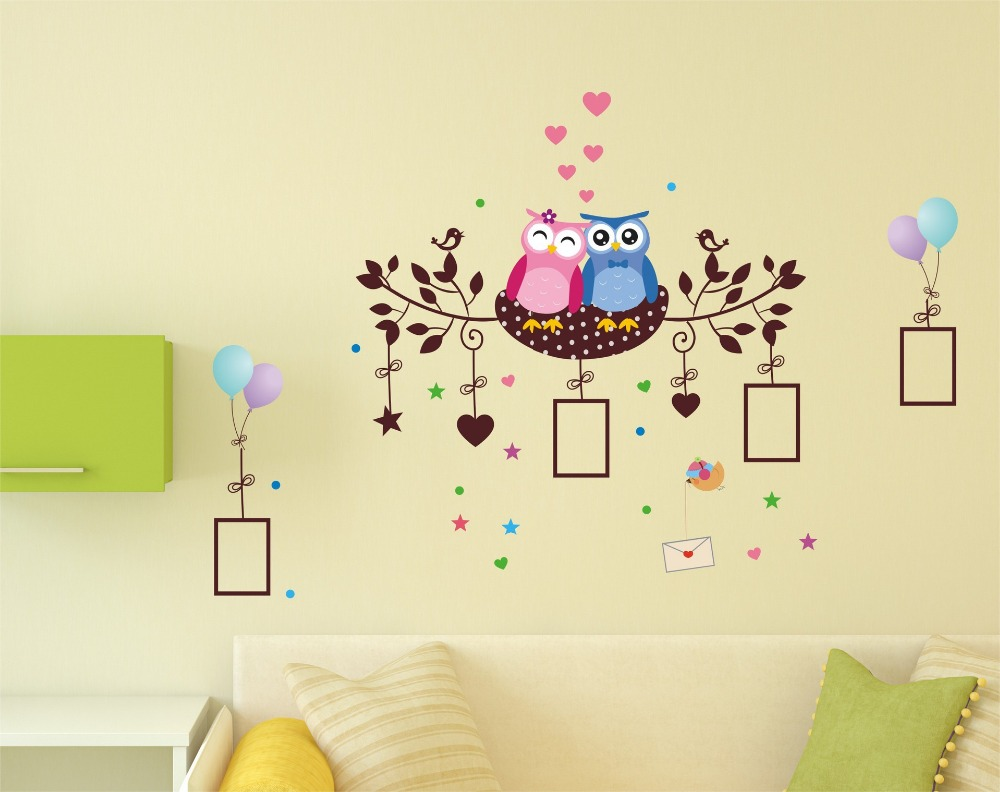 In stock owls lovers wall stickers birds nest wallpaper children in stock owls lovers wall stickers birds nest wallpaper children bedroom decoration picture frame wall decals in wall stickers from home garden on amipublicfo Images