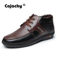 Cajacky men boots winter boots male new genuine leather snow boots warm botas hombre black fur ankle plush shoes snowproof 38-44