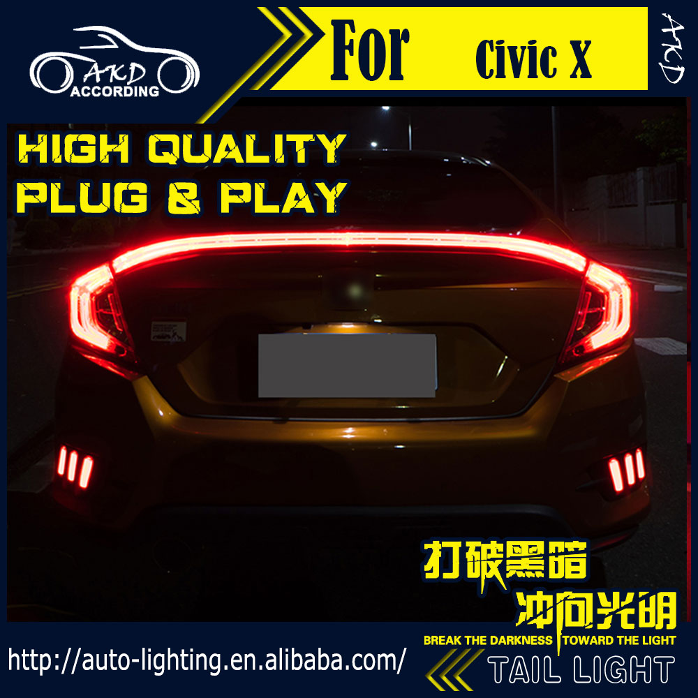 AKD Car Styling Tail Lamp for Honda Civic Tail Lights 2016 Civic X LED Tail  Light LED Signal LED DRL Stop Rear Lamp Accessories-in Car Light Assembly  from ...