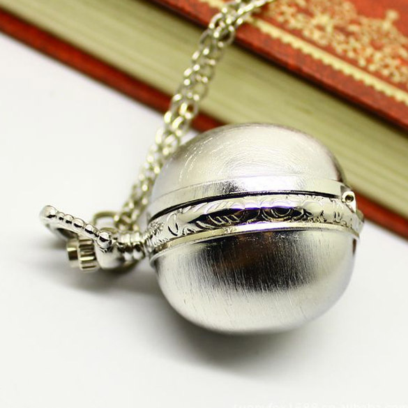 Birthday Gift White Necklace Pocket Watch Retro Alloy Quartz Clock Mini Ball Sha