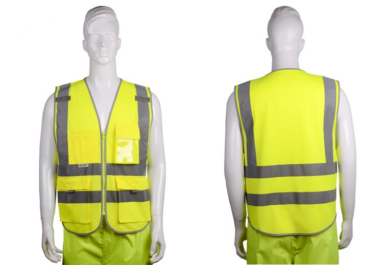 2018 Sale New Vest Material Visibility Security Safety Vest Jacket Reflective Strips Work Wear Uniforms Clothing 15