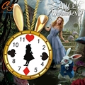 The  New 2016 Alice in wonderland Alice necklace rabbit clock lovely drip Alice clock necklace necklace wholesale Freeshipping