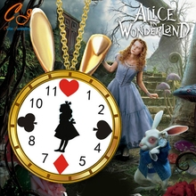 Alice In Wonderland Rabbit Clock Pendant Necklace