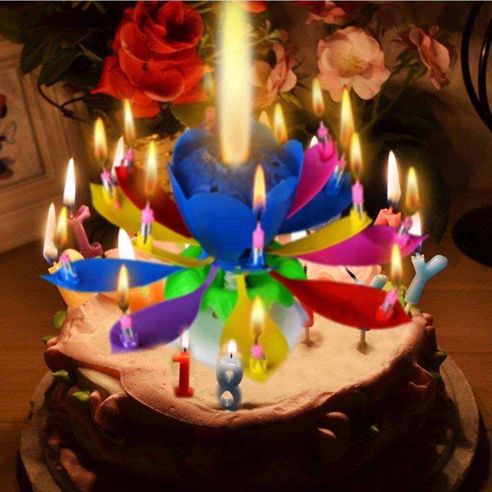 Happy Birthday Candles Electric Led For Cake Musical Lotus Flower Art Rotating Lights Lamp Party Decoration Gift Magical Blossom In DIY Decorations