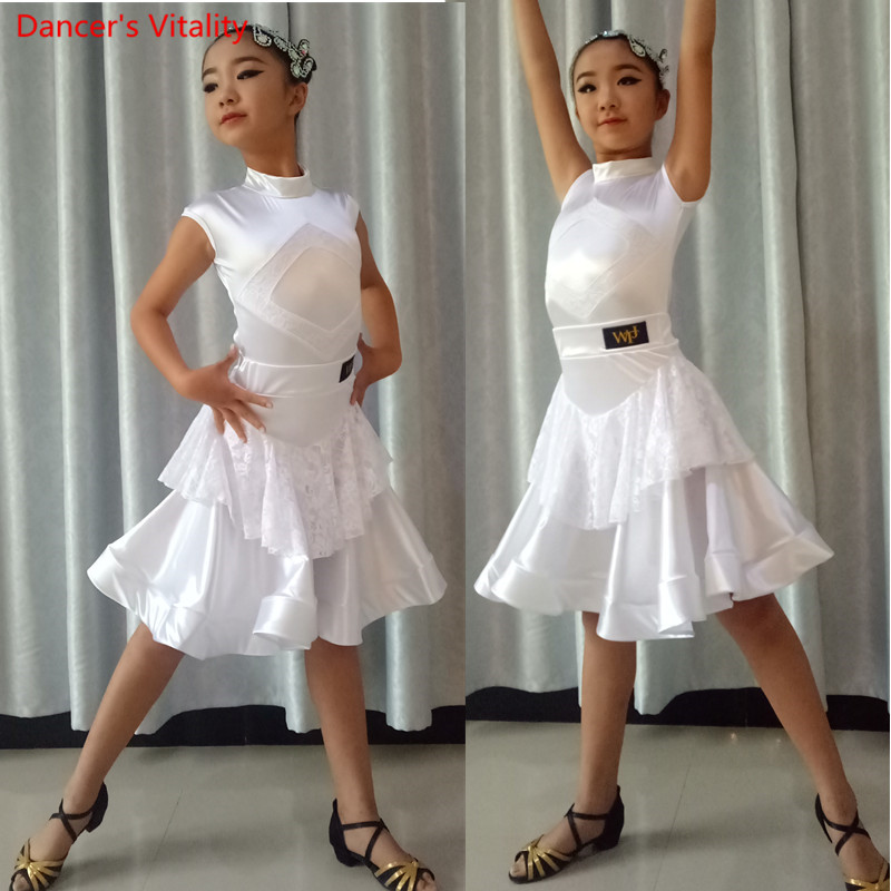 2018 New Latin Dance Dress Sexy Lace Girls Dancing Performance Competition Clothing Children Kids Ballroom Dance Costumes