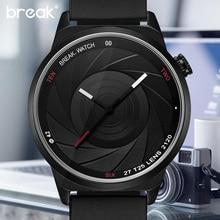 BREAK мужчины мужская уникальная камера стиль нержавеющей резинкой повседневная мода спорт кварцевые наручные часы современный подарок часы для женщин