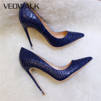 Veowalk Sexy Women Snake Skin Embossed High Heel Shoes Italian Style Navy Blue Fashion Ladies Extremely High Stilettos Pumps