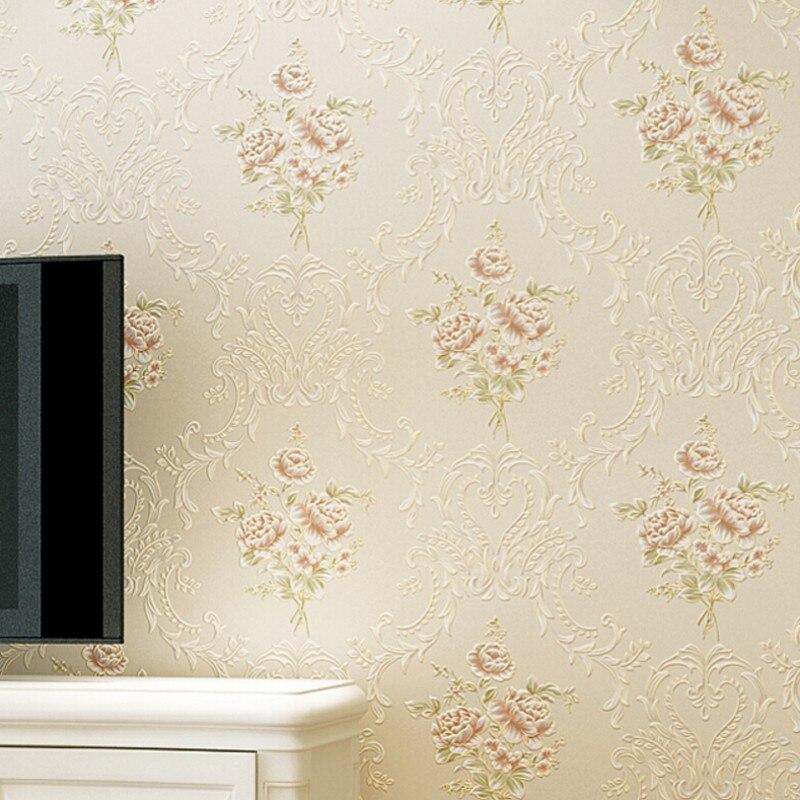 Beibehang style européen jardin style relief papier peint chaud chambre fond mur moderne décoratif papier peint bleu rose behang